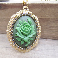 Irish Rose  - Rhinestone Encircled Resin Cameo on Rococo Motif Pendant Necklace
