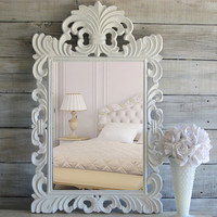 Ornate White Mirror, Vintage Rococo Mirror