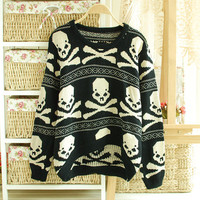 Fashion Women Lovely Skull design oversize Knitting Pullover Jumper Sweater coat