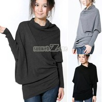 S0BZ Korean Women Batwing Irregular Knit Sweater Long Sleeve Top