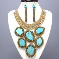 CHUNKY Gold Design Crystal TURQUOISE ELEGANT Statement Necklace Set Jeweled BIB