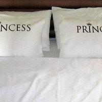 BEDROOM  SET Prince-Princess  embroidered set (2 pillow cases)- Brown with light brown crown -cotton pillow cases for double bed.