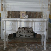 SOLD -Going for Baroque - French Hollywood Regency Style Vanity Desk with Pop up mirror - Custom Paint Order