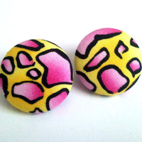 Yellow and pink crackle dinosaur egg fabric button earrings