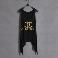 Leopard Chanel-Black Tank
