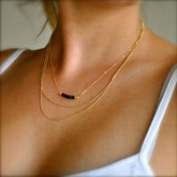 Gold Onyx Beaded Necklace
