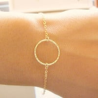 Circle bracelet, small circle bracelet, gold circle, Karma bracelet, thin gold bracelet,dainty gold bracelet, gold bangle