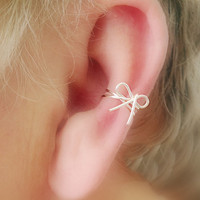 NEW/ Dainty Bow Ear Cuff/ Cartilage Cuff/ Now Available In STERLING