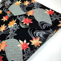 "Macbook pro 13 inch Macbook Air 13"" Padded case sleeve cover  Kimono cotton fabric Maple leaf black"