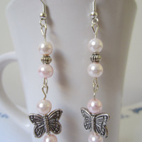 Butterfly and Glass Pearl Earrings