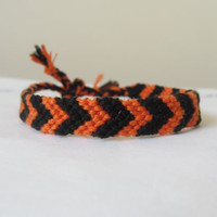 Chevron Braided Friendship Bracelet - Halloween, Orange and Black