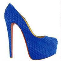 Christian Louboutin Daffodile 160mm Royal Blue Snakeski - &amp;#36;185.00