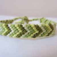Braided Friendship Bracelet - Khaki Greens