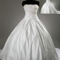 Ball gown Strapless Cathedral Train Satin Tulle Wedding Dresses With Embroidery Beading Free Shipping