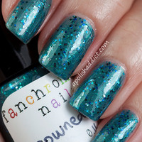 Drowned God Nail Polish - teal shimmer with holographic glitter