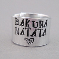 Disney Lion King Ring - Hakuna Matata - Hand Stamped Aluminum
