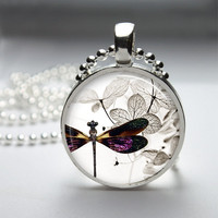 Photo Art Glass Bezel Pendant Dragonfly Necklace