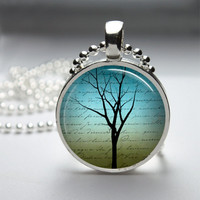 Photo Art Glass Bezel Pendant Tree Necklace