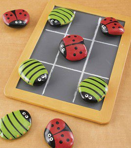 Painted stones - tic tac toe