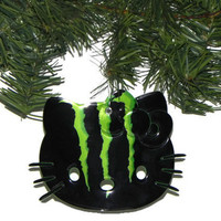 Recycled Green Monster Soda Can Christmas Ornament Hello Kitty Ornament