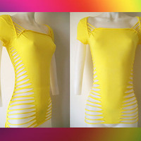 "Junior / Womens Bright Yellow Cut Shirt "" Sexy Cuts"" Blank T, Size Small, Medium, Large, XL, 2XL, 3XL Shredded T Club Wear"