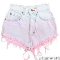 Hanmattan &quot;MACAROON&quot; vintage denim cutoff shorts pink blue pastel ombre dip dye