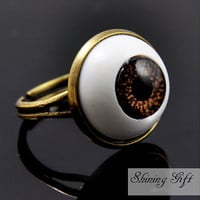 Cat Eyeball Adjustable Ring, Brown Eye