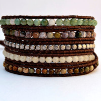 Chan Luu inspired wrap bracelet. Bohemian chic earthy five wrap bracelet. Lucky elephant button