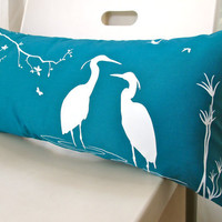 Teal Egret Lovers in the Swamp Rectangle Pillow
