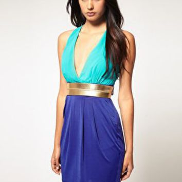 Lipsy | Lipsy Colour Block Metallic Belt Dress at ASOS