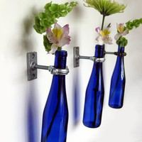Cobalt Blue Wine Bottle Wall Flower Vase by GreatBottlesofFire