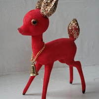 Vintage Flocked Red Reindeer Made in Japan
