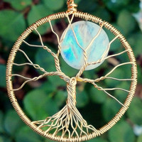 Rainbow&#x27;s End -18k Solid Gold and Moonstone Tree of Life Pendant by Ethora