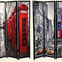 london & new york panel screen by foxbat boutique | notonthehighstreet.com