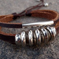 Leather Zen Bracelet with Sparkling Silver Beads