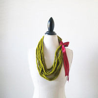 Green Crochet Scarf, Infinity, Chunky Chain Scarf Necklace, Red and Green, Shamrock and Apple Green, Holiday Accessories