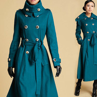 Blue wool Long Military style Coat (378)