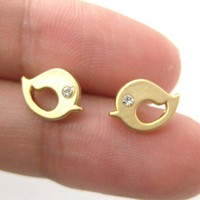 Small Bird Chick Animal Stud Earrings in Gold