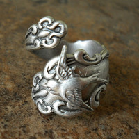 The ORIGINAL Silver Spoon Ring with Swooping Sparrow, Exclusive Design Only by Enchanted Lockets