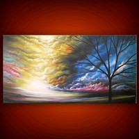 art painting original painting abstract landscape painting abstract landscape tree cloud art large landscape art 48 x 24