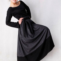 Gray Black woolen Wrap Skirt