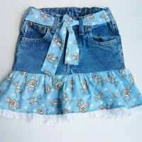 Upcycled Jean Skirt Cotton Monkey Print Child Size 5