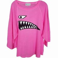 JAWS - OVERSIZED RAGLAN at Wildfox Couture in - WET N&#x27; WILD, - FAST TIMES PINK
