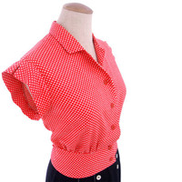 Vintage 1940s Peplum Blouse Red White Polka Dot Small XS