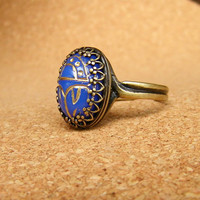 Vintage Style Scarab Ring. Gold leaf glass scarab brass ring.