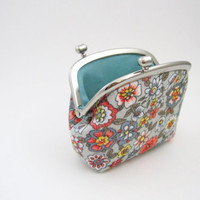 Frame Coin Purse-- side lock frame small pouch -gray floral case