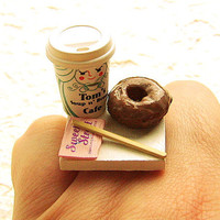 Coffee Ring Kawaii Food Ring Chocolate Donut by SouZouCreations