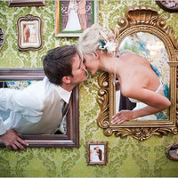 Wedding Wall Photo Booth Frames with Empty Frames to Capture Loved Ones at Your Vintage Wedding