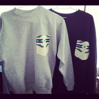 Grey Aztec Pocket Crew