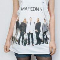 MAROON 5 Pop Rock Alternative Rock Shirt Tank Top Women Shirt White Shirt Tunic Top Sleeveless Vest Women T-Shirt Singlet Shirt Size M